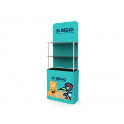 New Style Display Tower Table Banner Stand with High-Impact MDF Shelves