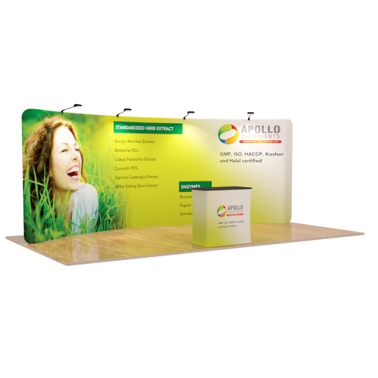 Custom 20ft Curve & Lightweight  Pillow Case Tension Fabric Trade Show Backwall Display