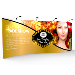 Custom 20ft S-Curved & Lightweight  Pillow Case Tension Fabric Trade Show Backwall Display
