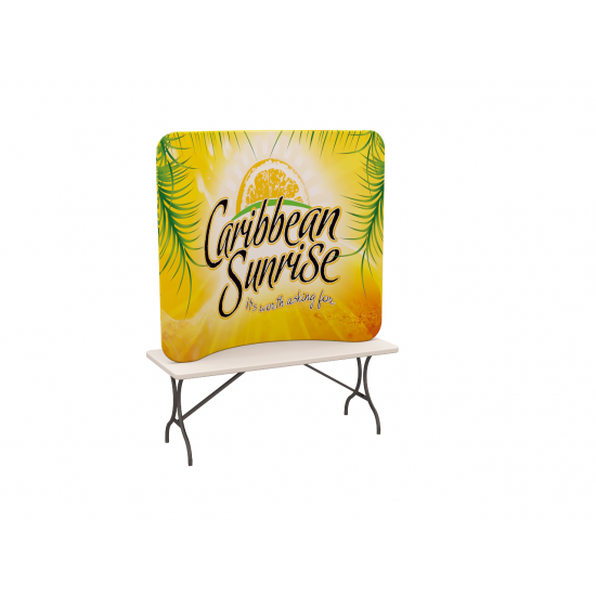 Custom 6ft Curved Tabletop Tension Fabric Trade Show Backwall Display