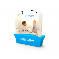 Custom 8ft Curved Tabletop Tension Fabric Trade Show Backwall Display