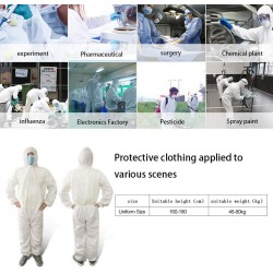 Adults Disposable Isolation Gown with Hood,Safety Personal Protection Isolation Gown,Indoor Outdoor Coverall Protection Garment for Men Women Jumpsuit